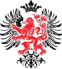 Black Red Decorative Heraldry Ornate Banner. Vector Illustration