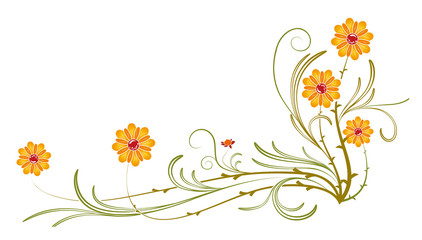 orange wild flower and vines