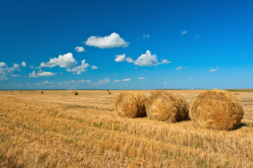 three hay stacks