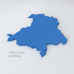 Landkarte Freistaat Bayern (mit Freistellungspfad)