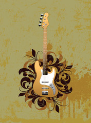 Retro abstract with electric guitar