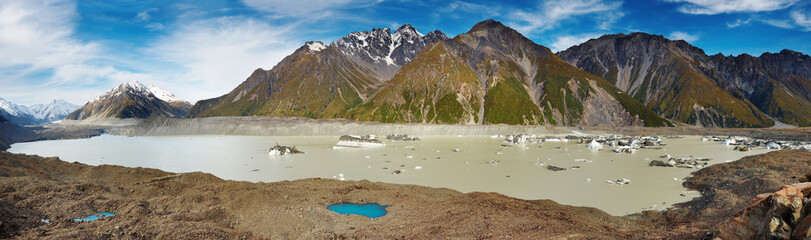 Wall Mural - Glacier lake in Southern Alps, New Zealand