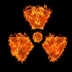 Burning radioactive symbol