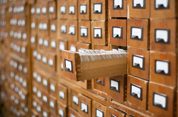 Door stickers Library Old wooden card catalogue with one opened drawer
