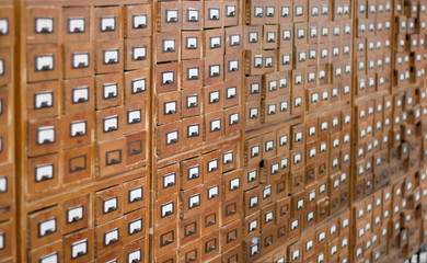 Door stickers Library Old wooden card catalogue