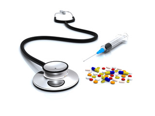 Stethoscope, syringe and pills