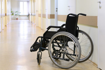 Wheel chair in the hospital.