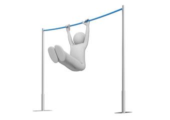 Athlete on horizontal bar