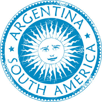Blue grunge rubber stamp with name Argentina, South America