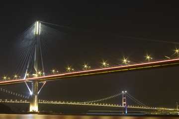 beautiful night scenes of Bridge in Hong Kong.