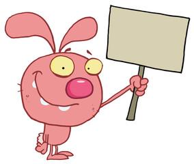 Easter rabbit holds blank sign