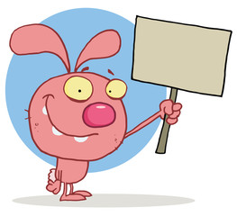 Smiling easter rabbit holds blank sign