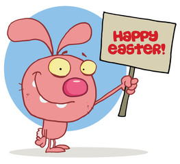 Easter rabbit holds Happy Easter! sign