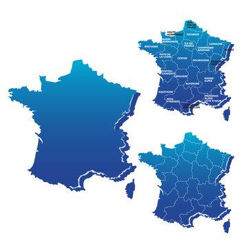 Carte des régions de France en vectoriel