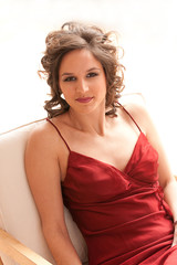 Elegant woman in a red dress
