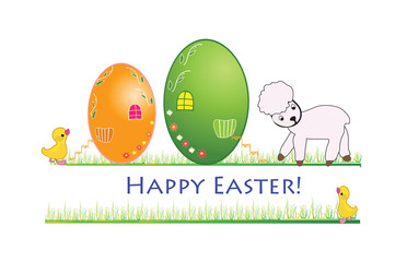 Easter banner with eggs and ducks and a lamb