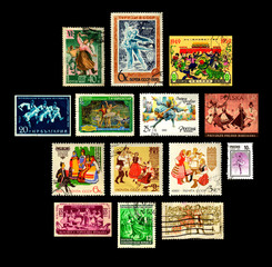 Series of Postage Stamps with Dance Ballet Theme