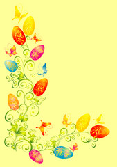 Wall Murals Birds, bees easter background, easter eggs with floral ornament