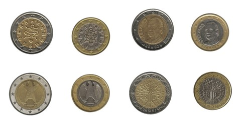 Euro coins, four European nations