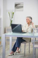 Femme senior devant ordinateur portable