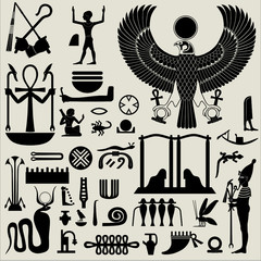 Egyptian Symbols and Signs silhouettes Set 2
