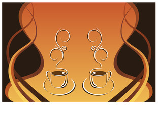 Two cups of hot coffee