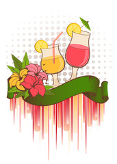 tropical flowers and summer cocktail
