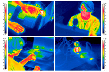 4 thermal images: boy at the laptop
