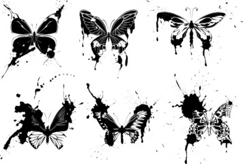 set of  grunge monochrome butterflies