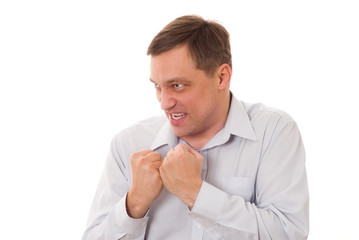 angry disgruntled man in a blue shirt on a white background