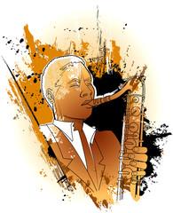 Fototapete - saxophonist on a grunge background