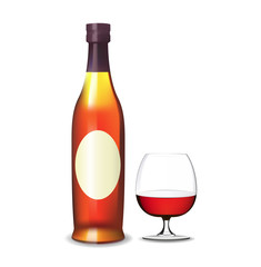 Cognac bottle and glass. Vector.