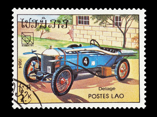 Wall Mural - stamp printed in Laos featuring a vintage Delage sports car