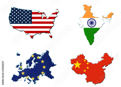 map flag usa europe india china Stock photo and royaltyfree