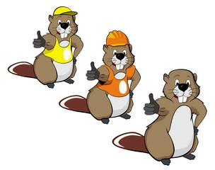 cartoon beavers Three