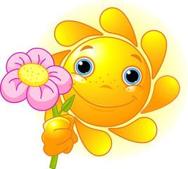 .Cartoon Character of Cute Summer Sun giving a flower