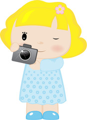 The girl with the camera in hands