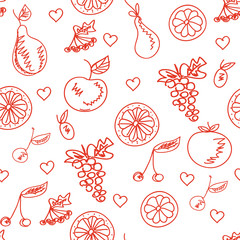 Fruit sketchy healthy seamless pattern.