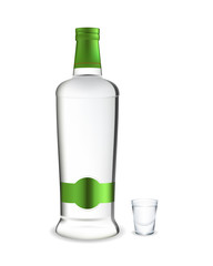 Bottle and jigger of vodka. Vector.