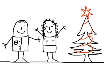 young couple with xmas tree