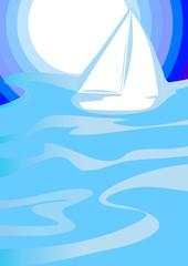 Yacht sailing to sunrise. Vector illustration.