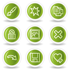 Image viewer web icons set 2, green circle buttons