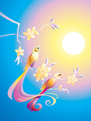 Birds in the morning, in Chinese traditional style, vector