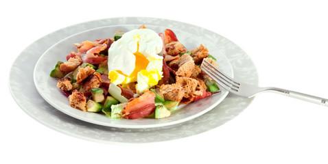 Salad with bacon, avocado and egg