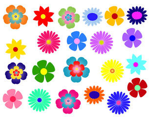 Grosses Set bunter Blumen
