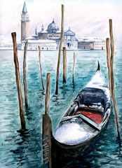 Gondola in winter-watercolor.My own artwork.