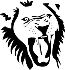 angry lion silhouette vector