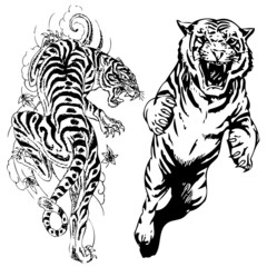 vector illustration tiger tattoo