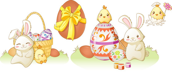 Easter bunny and chiken kawaii set