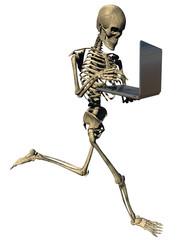 Running skeleton with laptop on white background